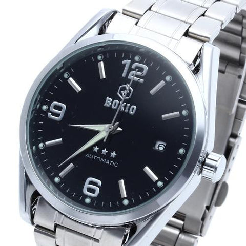 Men Automatic Mechanical Wrist Watch Steel Band Black Dial Luminous Date Sport