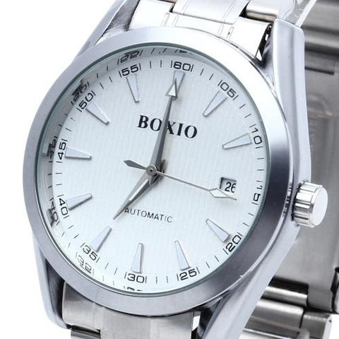 Men Automatic Mechanical Wrist Watch Steel Band White Dial Date Sport