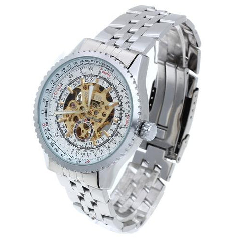 Men Automatic Mechanical Wrist Watch Steel Strap Luminous Skeleton Sport Army