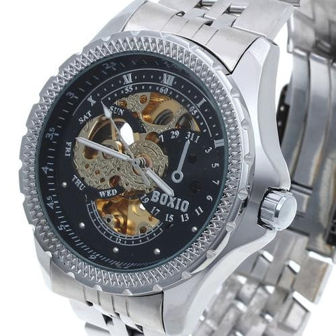 Men's Automatic Mechanical Wrist Watch Steel Band Luminous Skeleton Sport Army