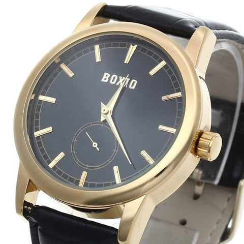 Black Leather Band Mens Mechanical Classic Sport Army Wrist Watch Golden Bezel