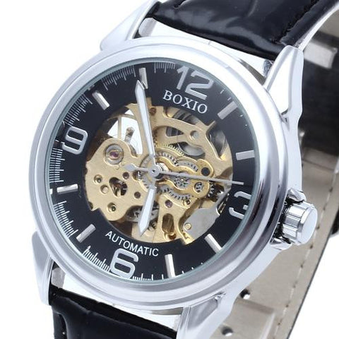 Black Leather Men's Steel Skeleton Mechanical Sport Army Wrist Watch