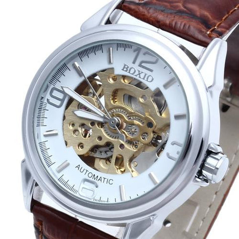 Brown Leather Men's Steel Skeleton Mechanical Sport Army Wrist Watch Fashion