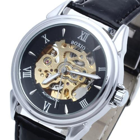 Leather Men's Steel Skeleton Mechanical Sport Army Wrist Watch Roman Numerals