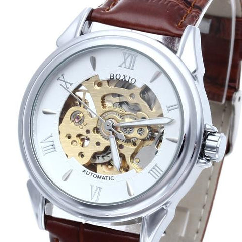 Brown Leather Men's Steel Skeleton Mechanical Sport Army Wrist Watch