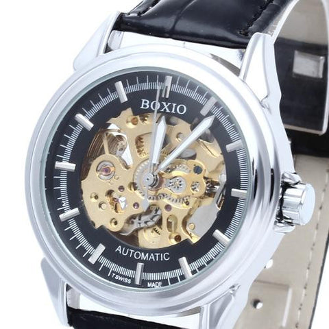 Men's Steel Skeleton Mechanical Sport Army Wrist Watch Black Leather Band