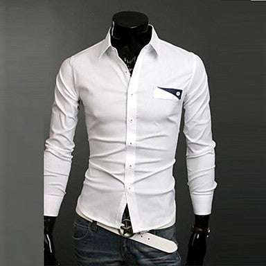 Men's Casual Long Sleeved Pure Shirt