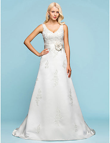 A-line V-neck Court Train Satin Wedding Dress