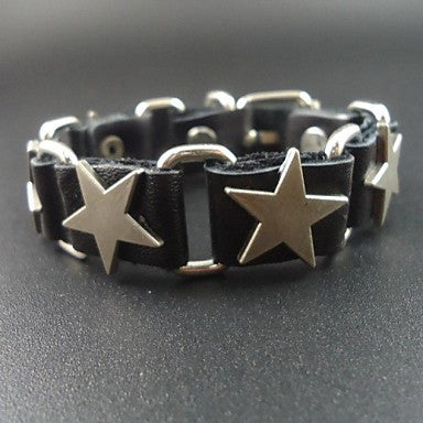 2015 Vintage Five Point Star Charms Genuine Leather Men's Link Bracelet