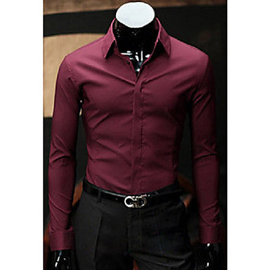 Men's All-Match Solid Color Long Sleeve Shirt