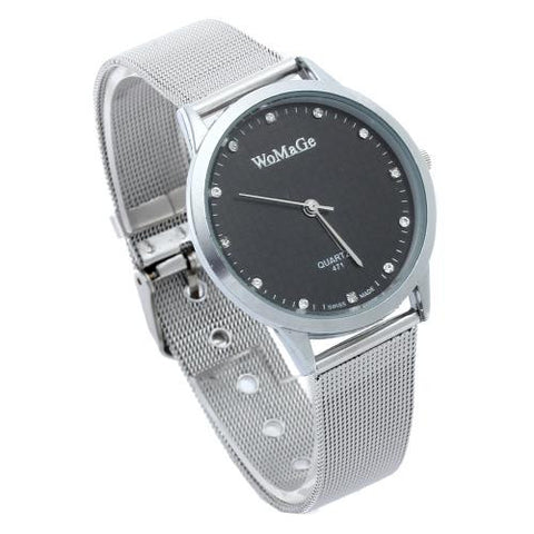 Men Quartz Movement Slim Wrist Watch Alloy Band Black Dial Rhinestone Mark