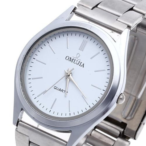 Men Quartz Movement Wrist Watch Alloy Band Silver Bezel White Dial Business