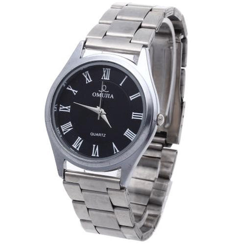 Men Quartz Movement Wrist Watch Silver Alloy Band Roman Numerals Black Dial