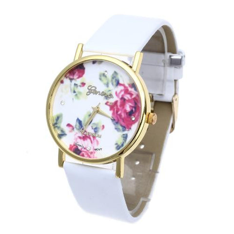 New Fashion Leather Rose Flower Watch for Women Dress Quartz Watches