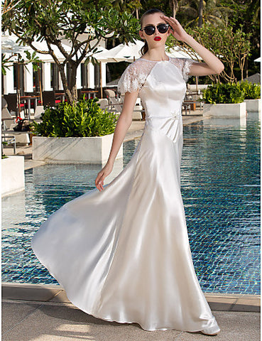 A-line Scoop Floor-length Stretch Satin And Lace Wedding Dress (871013)
