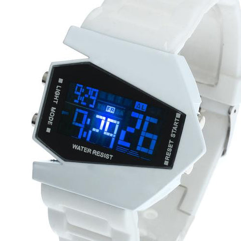Men's Boy's LED Light Digital Wrist Watch Waterproof Silicone Band Sports White