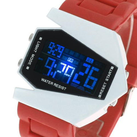Men's Boy's LED Light Digital Wrist Watch Silicone Band Sports Red