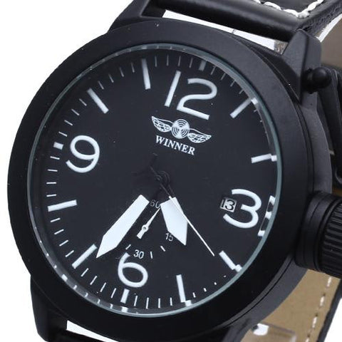 Men's Wrist Watch Leather Band Automatic Mechanical Arabic Numerals Mark Army