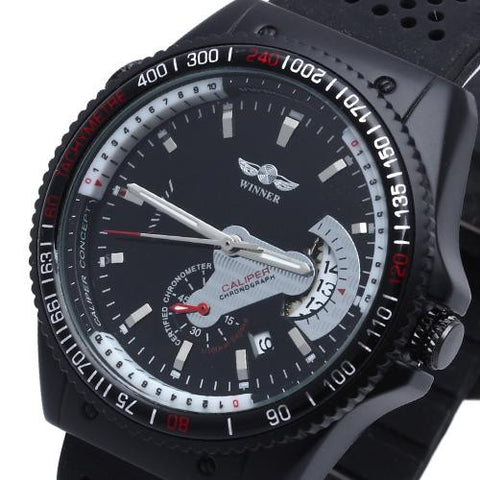 Men's Wrist Watch Silicone Black Band Automatic Mechanical Army Calendar