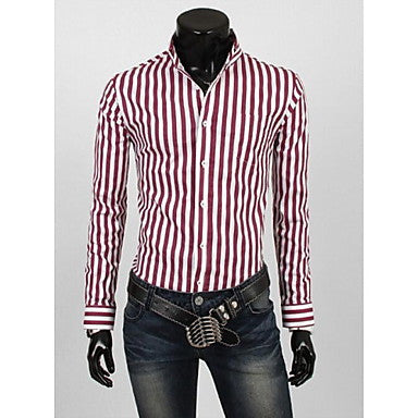 Men's Coat Stripe Cultivate One's Morality Long sleeve Shirt