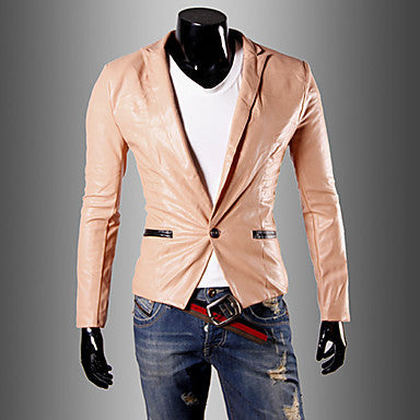 Men's Stylish PU Leather Outerwear