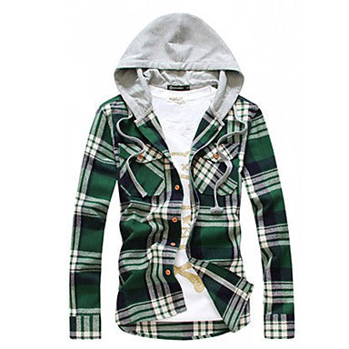 Men's Hoodie Korea Style Plaids Casual Shirt