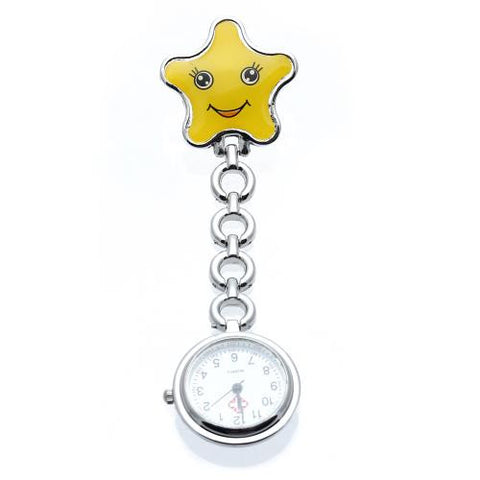 Silver Quartz Nurse Pocket Fob Watch Round Dial Yellow Star Brooch Clip Cute New