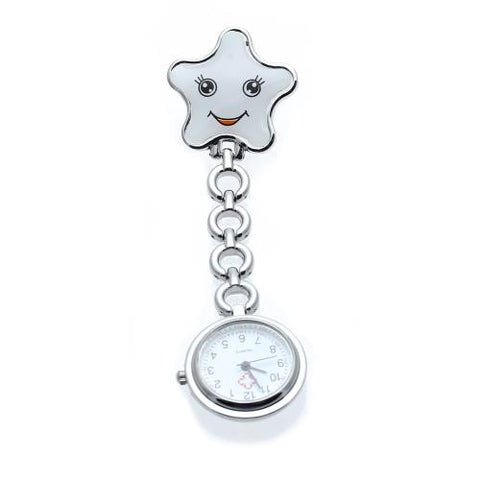 Silver Quartz Nurse Pocket Fob Watch Round Dial White Star Brooch Clip Cute New