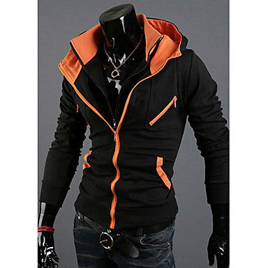Men's Korean Style Casual Cotton Zipper Assorted Colors Hoodies