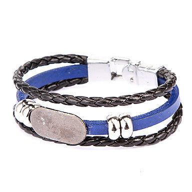 Punk Style Elliptic Square Plate Alloy Leather Bracelet(1 Pc)