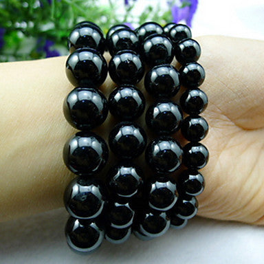 Health Caring Elegant Black Naturel Crystal Hologram Bracelet(1 Pc)
