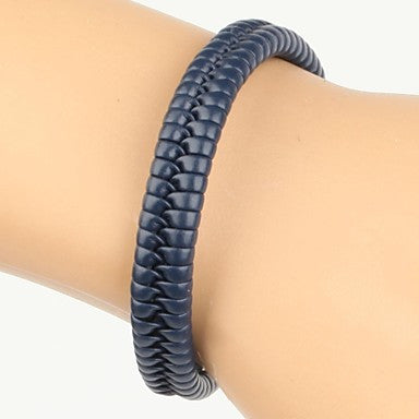Comfortable Adjustable Men's Leather Cool Hard Bracelet Dark Blue Braided Leather(1 Piece)