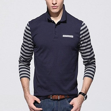 Men's Lapel Splicing Cotton Long Sleeve Polo Shirt
