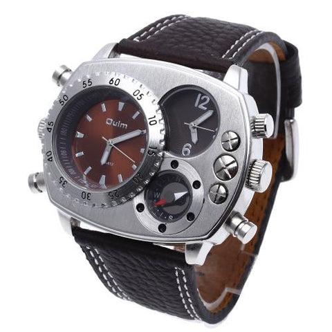 Military Army Dual Time Zones Movements Quartz Watch Leather Sport Brown