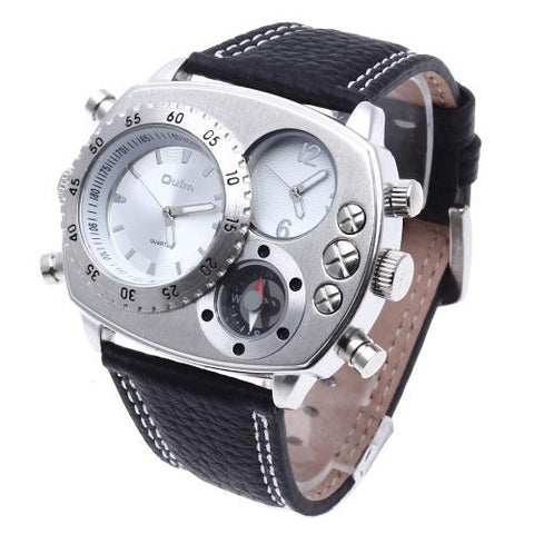 Military Army Dual Time Zones Movements Quartz Watch Leather Sport Black