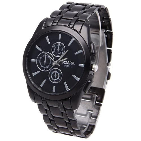 Men Quartz Wrist Watch Black Stainless Steel Band Classic Business Fashion
