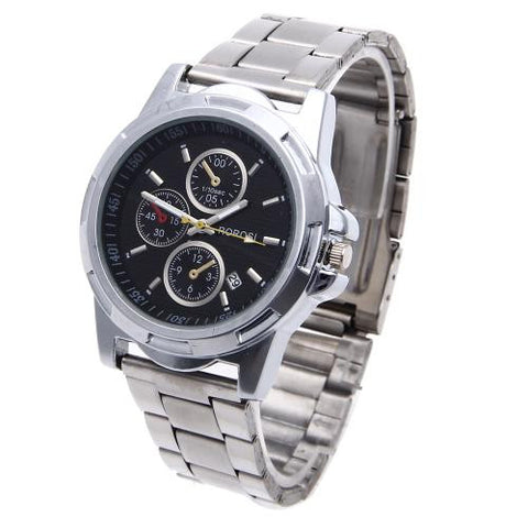 Men Quartz Wrist Watch Calendar Silver Stainless Steel Band Black Dial Fashion