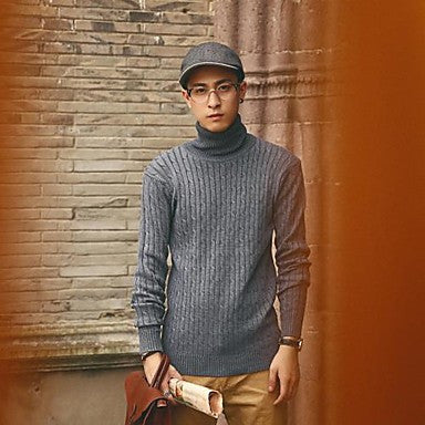 Men's High Collar Korean Simple Pure Color Knit Sweaters