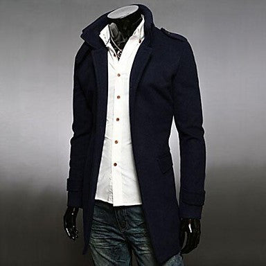 Men's Autumn and Winter Badges Woolen Single Breasted Coat