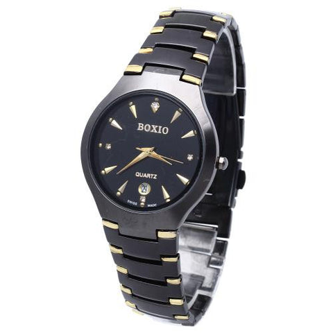 Business Men Stainless Steel Quartz Wrist Watch Hour Date Dial Gun Black + Gold