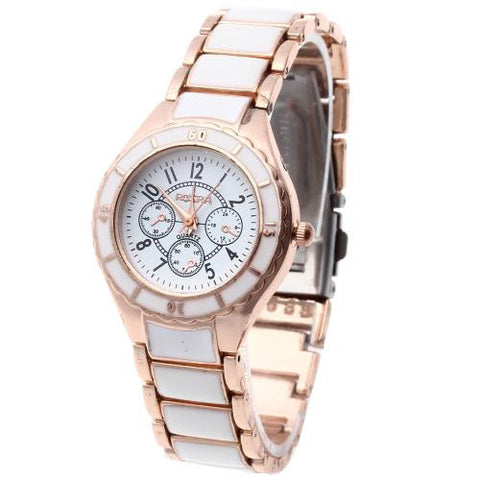 Luxury Women Fashion Quartz Wrist Watch Rose Gold + White Imitation Ceramic Band