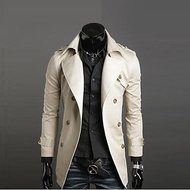 Men's Turn-Down Collar High-Grade Compound Cotton Long Sleeved Dust Coat