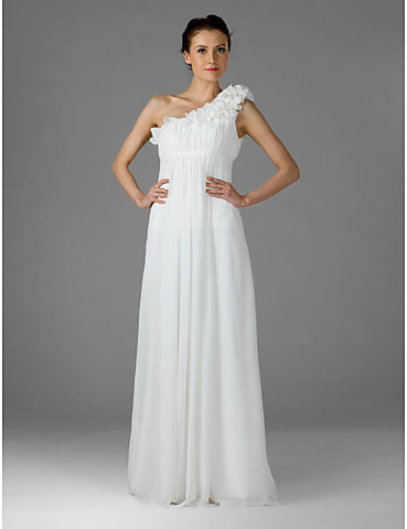 Bridesmaid Dress Floor Length Chiffon Empire One Shoulder Dress