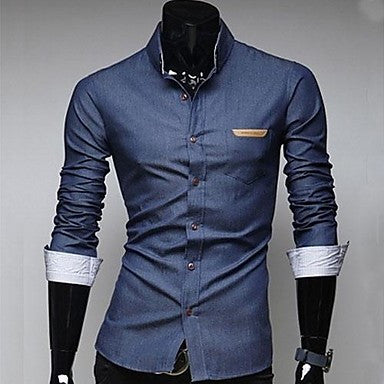 Men's Pocket Leather Badge Design Casual Long Sleeve Denim Shirts A