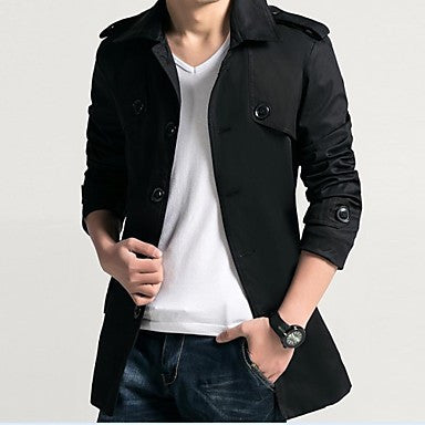 Men's Handsome Single Breasted Trench Coat