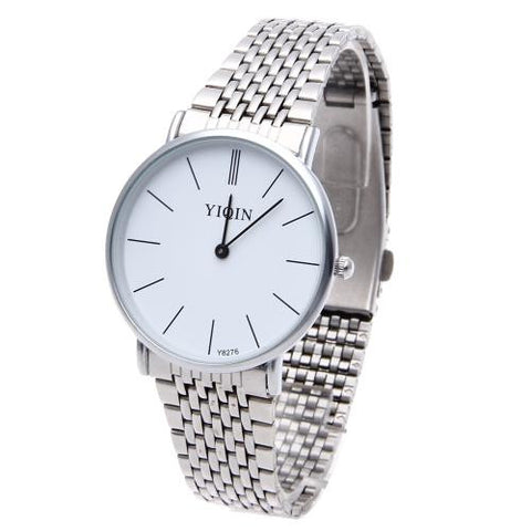 Men Quartz Wrist Watch Stainless Steel Band White Face Round Dial