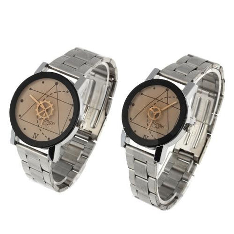 2 Quartz Movement Couple Wrist Watch Wristwatch Alloy Band Round Dial Men Lady