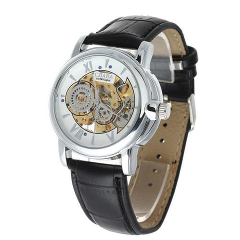 Men Automatic Mechanical Wrist Watch Skeleton Leather Band Hollow Dial Army