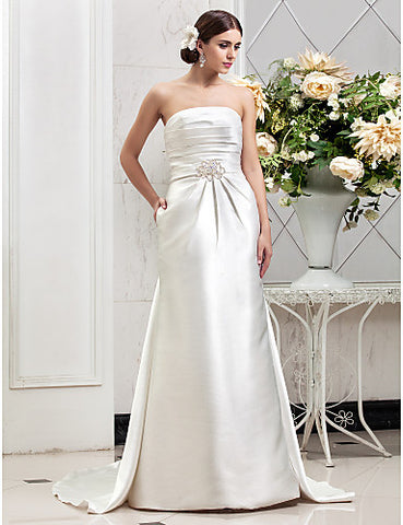 Sheath/Column Strapless Sweep/Brush Train NT Wedding Dresse (612946)