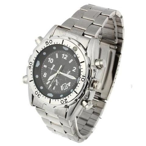 Men Quartz Wrist Watch Calendar Silver Alloy Band Fashion Round Dial